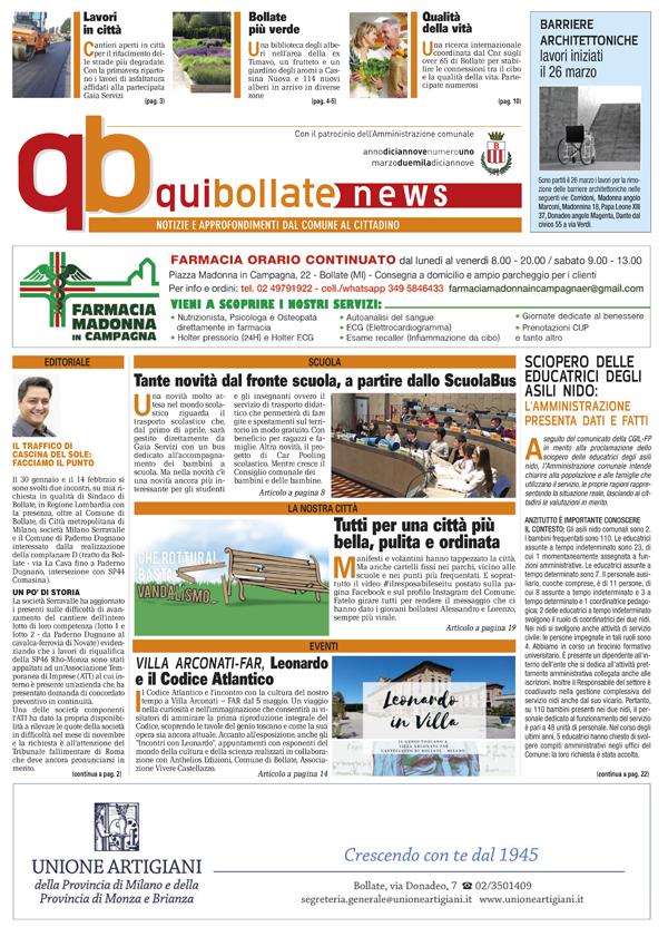 QuiBollateNews di marzo 2019