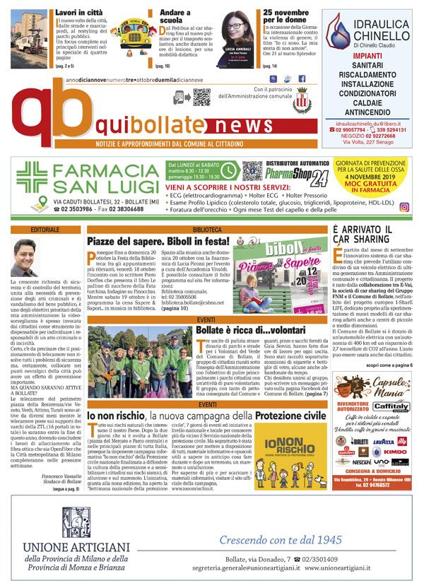 QuiBollateNews di ottobre 2019