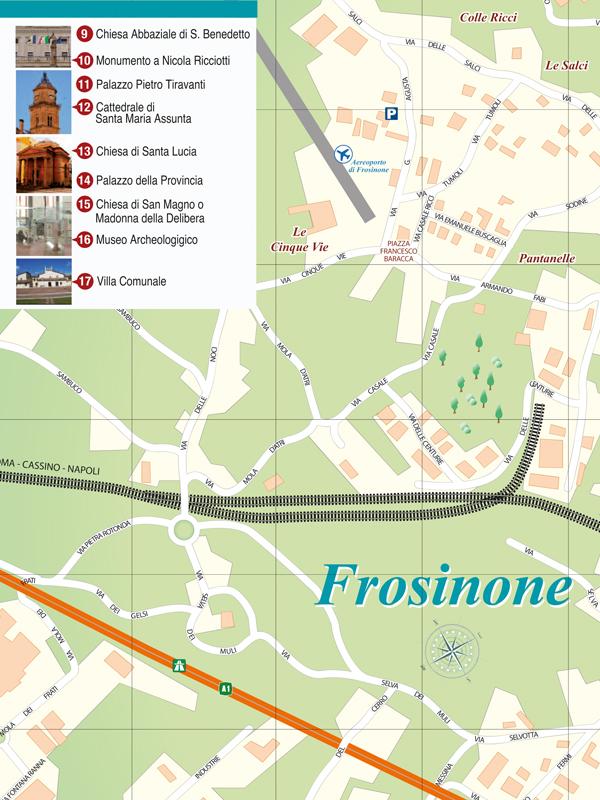 Frosinone Mappa Turistica Pieghevole